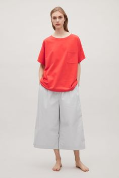 COS image 1 of Oversized cotton t-shirt in Poppy