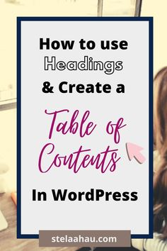 """Have you heard """"use well your H1 and H2""""? Well, those are the headings and they are important for your SEO and also with them you can create a Table of Contents for your Post. Learn how to do it clicking the link."""