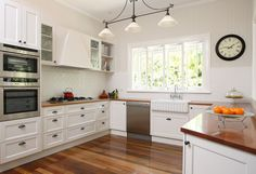 White Kitchen With Wood Floors Design, Pictures, Remodel, Decor and Ideas