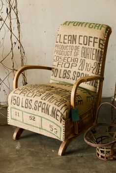 www.junktionart.com    This piece is for sale, contact us at junktionart@hotmail.com    Custom made by Junktion Art: 1940's Coffee Rocker Chair - Reupholstered vintage rocking chair using coffee bean sacks. Great idea for a lounge chair.     Junktion Art salvage & commissioned pieces