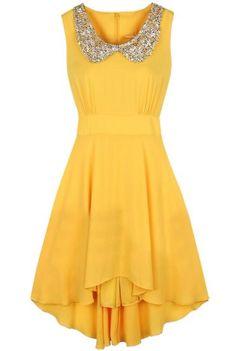 Yellow Sleeveless Sequined High Low Waist Dress