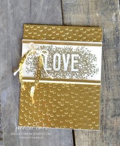 """Jennifer Timko: Stampin' on the Flo=y - Seasonally Scattered in Gold - 7/19/14 (""""LOVE stamp in Holiday catalog"""")"""
