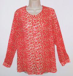 Clara Sun Woo XS S Sheer Blouse Coral Orange Beige Print Tab Sleeve Top #ClaraSunWoo #Blouse