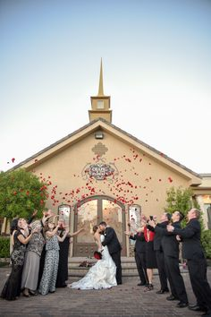 Flower Shower wedding photo idea. Romantic wedding photo idea to re-create on your wedding day.