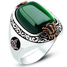 925 Sterling Silver Istanbul Style Green Agate/Aqeeq Men Ring
