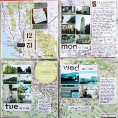 Project Life - Week 12 by CristinaC Awesome travel pages with map backgrounds and photo collages. Love!