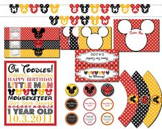 Mickey Mouse Classroom Ideas | Mickey Mouse Birthday Party Package Disney Clubhouse DIY Custom Signs ...