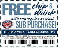 Pinned July 17th: Chips & drink free with your sub at Jersey Mikes coupon via The Coupons App
