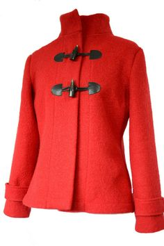 Boiled Wool Jacket with Leather Duffle-Coat Closure.Sizes XS-L red.   von Rosenrot Modedesign  auf DaWanda.com