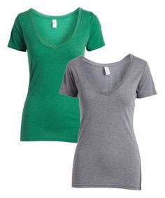 Pima Apparel Heather Gray & Emerald V-Neck Tee - Set of Two | Zulily
