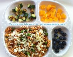 sauteed zucchini with OO & a little garlic salt | bite sized orange pieces | curly noodles & peas in marinara sauce with mozz cheese | blueberries