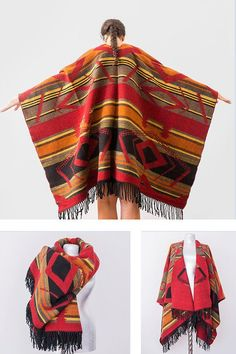 Aztec Wool poncho Tribal Poncho Ethnic Poncho Boho Poncho Aztec Coat Boho Coat Wool Poncho Fashion Accessories For Him For Her – Winter Coat Kids Poncho, Ladies Poncho, Grey Poncho, Knitted Poncho, Poncho Knitting Patterns, Beige Coat, Capes For Women, Black Knit, Mantel