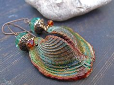 An Appearance of Hearts - wearable art polymer clay green copper gold patina topaz crystal seashell earrings.