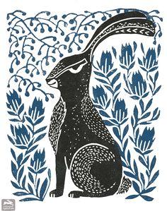 hare, illustration, woodcut, block print, linocut, folk art, andrealauren, andrea lauren, ink print repeat,