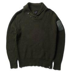 Olive Shawl Collar Sweater