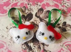2 Hello Kitty Inspired Felt Ornaments by nalliebowtique on Etsy