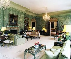American Embassador's home in London, Winfield House. Designer: William Haines. Ambassador Annenberg and his wife, Leonore, spent millions of their own funds to restore the beautiful home, both décor and infrastructure. Mrs. Annenberg a fan of green/pinks in all her homes (Philadelphia and Rancho Mirage, CA)