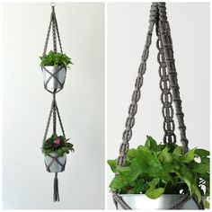 Double Plant Hanger // Double Hanging Planter // Dark Grey Macrame Plant Hanger // Dark Gray Hanging Planter // #14 Smokey Grey by TheVintageLoop on Etsy