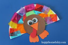 Easy tissue paper turkey made with materials you probably already have on hand.