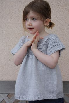 Little Biscuits knit sweater pattern by Cecile Levesque (from Magpie Patterns) Sweater Knitting Patterns, Knitting Designs, Knitting Yarn, Knitting Projects, Crochet Patterns, Love Crochet, Knit Crochet, Knit Baby Dress, How To Purl Knit
