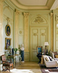 "Grand Salon - Chateau du Grand-Lucé: Decorating a Great French Country House. That ""Laduree green""! French Architecture, Architecture Details, Interior Architecture, Interior And Exterior, Antique Interior, Interior Decorating, Interior Design, French Chateau, Classic Interior"