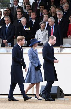 Prince Harry, Catherine, Duchess of Cambridge and Prince William, Duke of Cambridge attend the dedication service of The Iraq and Afghanistan memorial at Horse Guards Paradeon March 9, 2017 in London.