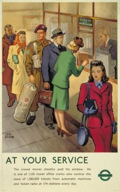 At your service ~ Leo Dowd Vintage London, Old London, Vintage Dog, Vintage Signs, Train Posters, Railway Posters, London Underground Stations, London Transport Museum, London Poster