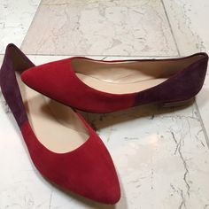 Banana Republic suede red and purple pointed flat Banana Republic pointed toe purple and red flat. Never worn! Banana Republic Shoes Flats & Loafers