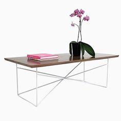 Custom Made The Miami: Mid Century Modern Solid Walnut Coffee Table With White Steel Base