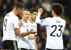 The Germans celebrated going three goals ahead and knew qualification to next year's world cup was assured