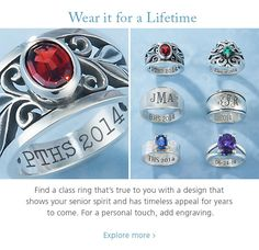 Wouldn't one of these be a beautiful senior ring for college. I still LOVE my James Avery ring my mom bought me in highschool. Graduation Jewelry, Graduation Gifts, College Graduation, Senior Rings, School Rings, James Avery Rings, Jewelry Accessories, Jewelry Design, Prom Decor