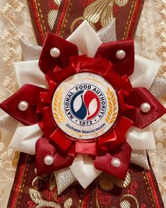 Elegant handcrafted rosette leis with red and white color combination created for National Food Authority Region 4 in Balagtas, Batangas Batangas, Leis, Craft Business, Special Guest, Corsage, 4th Of July Wreath, Sash, Garland, Red And White
