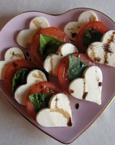 Caprese Salad, with heart-shaped mozarella. #recipe