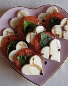 Caprese Salad, with heart-shaped mozarella. #recipe