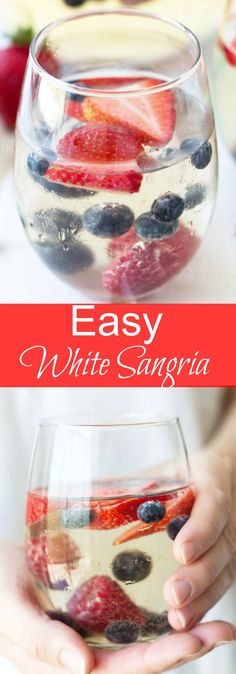 Easy White Sangria -an excellent summer time drink full of luscious fruit, crisp white wine and lemon lime soda to make it bubbly!