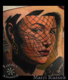woman with veil - by Marci Blazsek   #veil #womanwithveil #tattoo #tattooanansi #colortattoo #tattooanansi