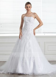 A-Line/Princess Sweetheart Chapel Train Beading Appliques Lace Zipper Up Strapless Sleeveless Church General Plus No Spring Summer Fall White Tulle Wedding Dress