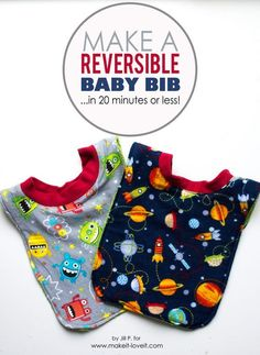 Sewing For Babies If you have been looking to make the perfect baby gift, you will LOVE this easy to make reversible baby bib tutorial. - If you have been looking to make the perfect baby gift, you will LOVE this easy to make reversible baby bib tutorial. Quilt Baby, Diy Baby Gifts, Baby Crafts, Easy Baby Gifts To Make, Homemade Baby Gifts, Baby Sewing Projects, Sewing For Kids, Sewing Ideas, Baby Bib Tutorial