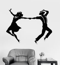 Vinyl Wall Decal Swing Dance Couple Room Art Stickers Mural (ig3479)