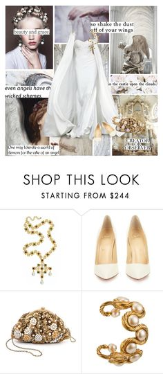 """""And flights of angels sing thee to thy rest!"" - William Shakespeare"" by azomyr20 ❤ liked on Polyvore featuring Material Girl, Miss Me, Kenneth Jay Lane, Christian Louboutin, Santi, Chanel, Christian Dior and Halloween"
