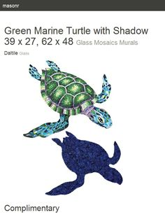 Green Marine Turtle with Shadow 39 x 27, 62 x 48. Glass Mosaics Murals. Glass. Daltile.