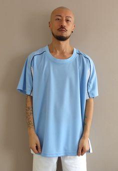 Oversized Football Shirt Light Blue & White