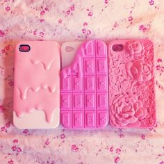 cute chocolate kawaii iphone flowers pink floral pastel treats icing dripping phonecase