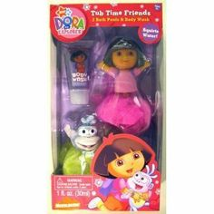 DORA TUB TIME FRIENDS by Dora the Explorer. $17.95. Dora the Explorer Tub Time Friends Gift Set - Includes 2 Bath Poufs & Body Wash. Have a good time with Dora the Explorer  and Boots  best buddies, !. Bath pouf squirts water!. This 3 piece set includes one Dora the Explorer bath pouf, one Boots bath pouf, and a 1 fluid ounce mango scented body wash.. Dora the Explorer Tub Time Friends Gift Set - Includes 2 Bath Poufs & Body Wash. This 3 piece set includes one Dora the Ex...