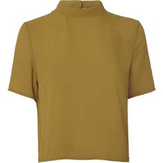 Olive High Neck T Shirt (£17) ❤ liked on Polyvore featuring tops, t-shirts, yellow, olive t shirt, short sleeve tees, yellow tee, high neck t shirts and polyester t shirts