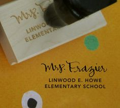 "Personalized Teacher Stamp - Teacher and School Name - rubber stamp with wood handle - 1"" x 2"" on Etsy, $32.00"