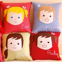 Personalised kids pillows.