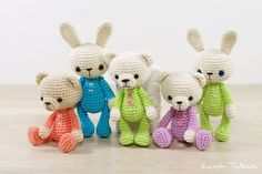 4-way jointed small bunny and teddy bear pattern // Kristi Tullus (spire.ee)