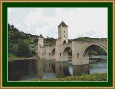 Cahors Bridge, France Cross Stitch Pattern