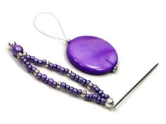 Purple Silver Beaded Stitch Picker  Needle Threader by TJBdesigns, $5.00